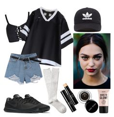 """""""No effort but amazing look"""" by lauralydix on Polyvore featuring NIKE, adidas Originals, Witchery, NYX, Bobbi Brown Cosmetics and Shiseido"""