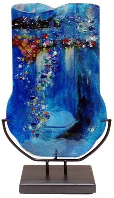 Glass Vase-Hand slumped, fused and painted