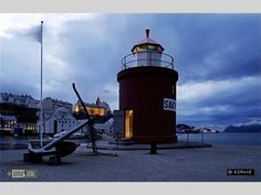 50 year-old lighthouse at the entrance to the harbour of Aalesund, Norway    The interior of the lighthouse is completely round, only 3 meters in diameter, but through effective use of the available spaces, Molja now boasts a bedroom upstairs and a bathroom downstairs. NR4900/n