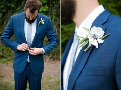 Navy suit. Groom. Anemone boutonnière. Spring wedding.