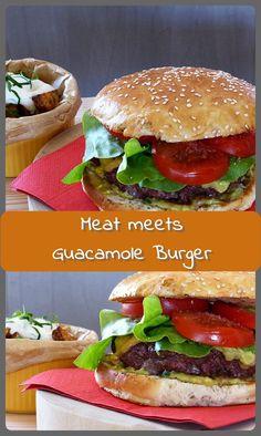Meat meets Guacamole Burger - meat meets me Guacamole Burger, Guacamole Sauce, Burger Meat, Barbecue Recipes, Smoking Meat, Grilling, Treats, Ethnic Recipes, Blog