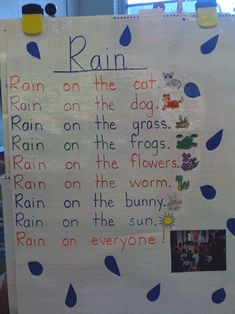 There are some fun ideas to do with kids when talking about weather and spring!! Examples: pretending to be the wind and blow cotton balls across the floor with a straw, make kites and the bows can be words from a specific word family, graph their favorite spring weather... etc!
