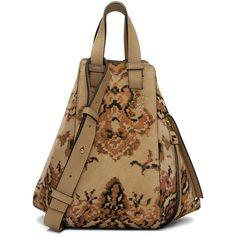 Loewe Beige Hammock Tapestry Bag ($3,185) ❤ liked on Polyvore featuring bags, handbags, shoulder bags, beige, zip shoulder bag, zip purse, beige purse, zipper handbag and brown purse