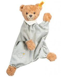 Schmusetuch Schlaf-gut-Bär in hellgrau gestreift
