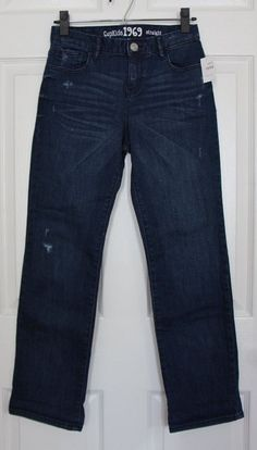 NEW GapKids Girl's Size 16 Regular Straight Medium Wash Blue Jeans Destroyed NWT #GapKids #ClassicStraightLeg #Everyday