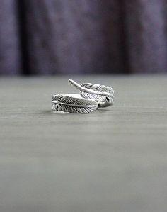 Argento anello di piuma piuma ridimensionabile di laplumeblanche