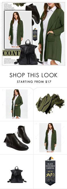 """green coat"" by duma-duma ❤ liked on Polyvore featuring Bobbi Brown Cosmetics"