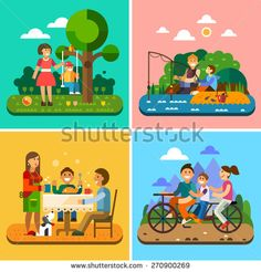 Happy family: mother and child, child on a swing, fishing, family at the table, biking. Vector flat illustration - stock vector