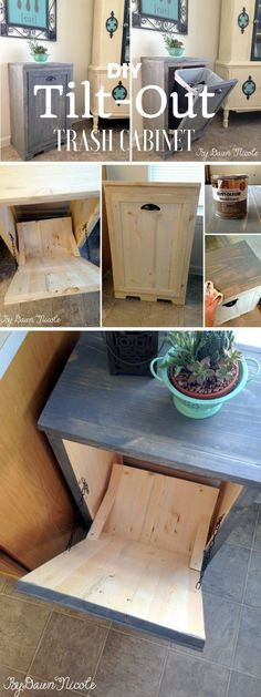 Check out the tutorial: #DIY Tilt Out Trash Cabinet @istandarddesign I need this no more dogs dumping can