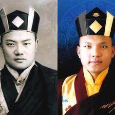 Tibet - Tibétains en exil. Karmapa dans son ancienne vie à gauche et lui à présent à droite. Il représente l'école bouddhiste tibétaine : KAGYU