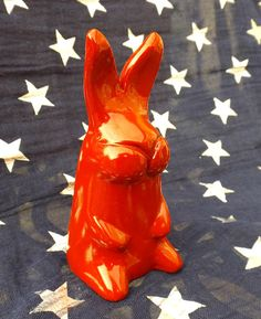 Red Rabbit Polymer Clay Animal Sculpture Animal by ChompStomp