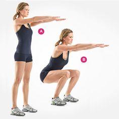 Squat: Body-Weight Squat - Health Magazine fitness perfect-body perfect-body health-and-fitness Fitness Workouts, Fitness Tips, Lifting Workouts, Fitness Quotes, Squats Fitness, Body Quotes, Training Workouts, Butt Workouts, Circuit Training