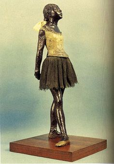 Degas,saw her today at Norton Simon Museum in Pasadena.  The tutu use to be white we were told and the bow in back fell apart so they get ribbon from a store .