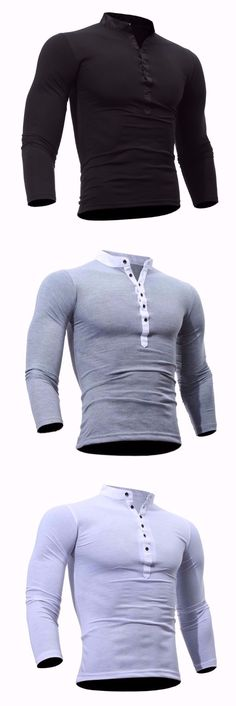 Men's Casual Daily Plus Size Simple Spring Fall T-shirt Solid Stand Long Sleeves Cotton Polyester Thin T-shirt