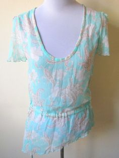 sheer mint green with paisley and floral prints blouson top (small to medium) $15