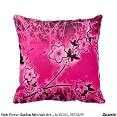 Pink Flower Garden Airbrush Art Plush Throw Pillow