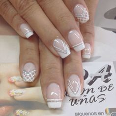 lace manicure with metallic decorative elements, how to decorate nails for the wedding French Nails, Ongles Gel French, Fun Nails, Pretty Nails, Nagel Gel, Easy Nail Art, White Nails, Nail Arts, Manicure And Pedicure