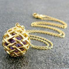 Weave Medium Ball Pendant in Gold Vermeil, with Amethyst rough gemstones inside.