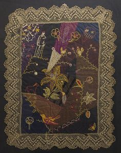 Victorian Crazy Doll Quilt: Circa 1890; Maryland - love the lace
