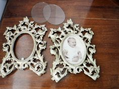 2 Beautiful Vintage Metal Frames, Shabby Chic Vintage Frames, Antique Metal White Gold Frames, Vintage French Country Decor, Scroll Design by BeautyMeetsTheEye on Etsy