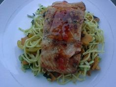 Vegetable Chowmein with pan-fried salmon in sweet and sour sauce