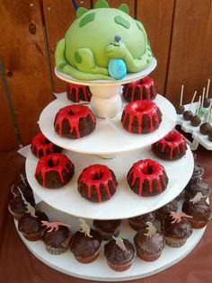 Dinosaur theme baby shower- dino mom cake & molten lava cupcakes
