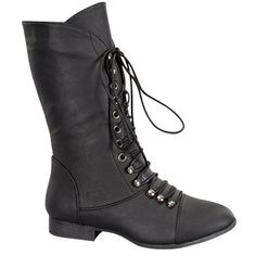 97a8799838b Top Moda Women s Mid Calf Military Lace Up Combat Boots