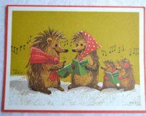 Vintage Greeting Card - Suzy's Zoo Hedgehog Christmas - Early Suzy Zoo