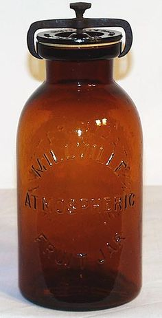 MILLVILLE ATMOSPHERIC FRUIT JAR   reverse WHITALL'S PATENT JUNE 18TH 1861  Half gallon in perfect condition.