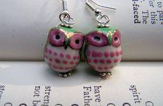 Green Owl Earrings Little Cute Owls Pink Owl Jewelry  Girls Earrings