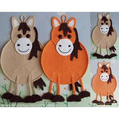 046 Crochet Pattern - Horse decor, potholder or small pillow - Amigurumi PDF fil. : 046 Crochet Pattern – Horse decor, potholder or small pillow – Amigurumi PDF file by Zabelina Pferde Topflappen häkeln. Crochet Potholder Patterns, Knitting Patterns, Single Crochet, Double Crochet, Crochet Horse, Crochet Animals, Crochet Baby, Crab Stitch, Ravelry Crochet