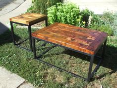 Custom Barn Wood And Metal Base Tables