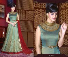 Green floor length silk embroidered partywear anarkali suit