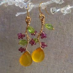 Nature Inspired Wire Wrapped Earrings with Yellow Chalcedony, Rhodilite, Garnet and Peridot