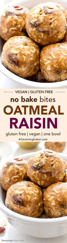 No Bake Oatmeal Raisin Bites (V+GF): A super easy, one bowl recipe for healthy energy bites bursting with oatmeal raisin cookie flavor. Dairy Free Recipes, Vegan Gluten Free, Vegan Recipes, Snack Recipes, Cooking Recipes, Vegan Treats, Vegan Snacks, Healthy Desserts, Dessert Sans Gluten