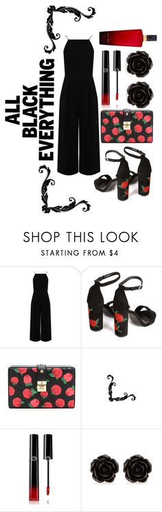 """""""n*132 All Black Everything   rob-everly"""" by rob-everly ❤ liked on Polyvore featuring Warehouse, Giorgio Armani, Erica Lyons and Victoria's Secret"""