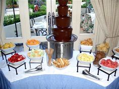 New Fruit Kabobs Display Chocolate Fountains Ideas Chocolate Fountain Recipes, Chocolate Fountains, Party Platters, Deco Fruit, Fruit Juice Recipes, Fondue Party, Chocolates, Reception Food, Wedding Reception