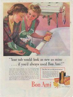Vintage 1940s Bon Ami Magazine Print Ad Wartime Wall Art World War II Advertising Bathroom Decor