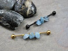 Wire Wrap Aquamarine Industrial Bar Stainless Surgical Steel Cartilage Piercing Choose Gold Rose Gold Black by BodyJewelryEnvy Belly Rings, Belly Button Rings, Piercing Retainers, Types Of Gemstones, Rutilated Quartz, Beaded Rings, Body Jewelry, Wire Wrap, Black Gold