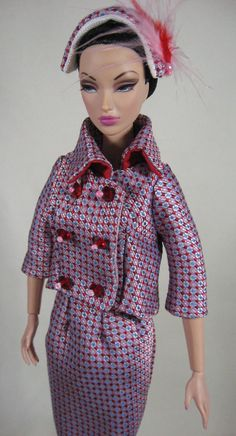 OOAK Red/Pink Brocade Vintage Style 2 Piece Suit by Boutiquewindow