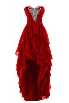 Sunvary Robe Longue Robe de Cocktail Robe de Party Robe de Bal AsymšŠtrique sans Bretelles Col en C?ur Romantique avec Faux Diamants en Chiffon-Taille-38-Rouge