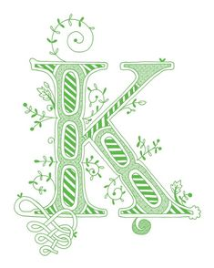 Hand drawn monogrammed print, 8x10, the Letter K, in the color green. $15.00, via Etsy.