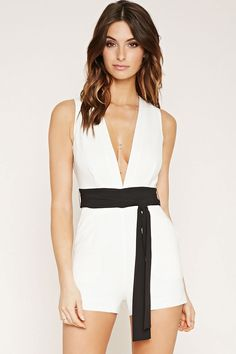 Contemporary Plunging Romper | Forever 21 - 2000171717