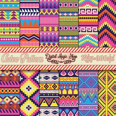 12 Bright Pink Yellow Purple Blue Aztec Digital Paper for Scrapbooking, Cards, Invites,Crafts - Commercial Use by  DigitalMagicShop, $2.50