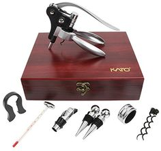 Rabbit Wine Opener Corkscrew Set 9 Pieces Wine Bottle Screwpull Accessories Gift Kit Wine Stoppers and Pourer Foil Cutter and Extra Screws In Deluxe Red Box by Kato * Check out the image by visiting the link. (This is an affiliate link) #KitchenGadgets