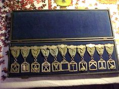 """MASONIC VINTAGE CEREMONIAL OFFICER MEDALS - SILVER COLOR IN VELVET CASE 1800S? - """"The 'Nicholas' Collection"""""""
