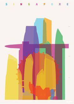 Shapes of Singapore art print por DesignedbyYoni en Etsy
