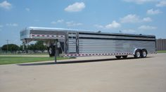 That has to be the biggest stock trailer ever made. Livestock Trailers, Horse Trailers, Show Steers, Gooseneck Trailer, Dairy Cattle, Show Cattle, Big Stock, Bull Riding, Trailer Hitch