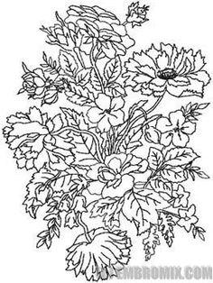 Redwork Floral Fantasy