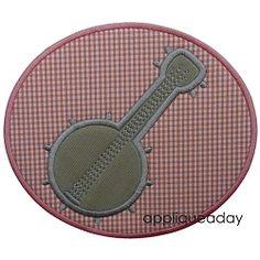 Banjo Applique - 3 Sizes! | Music | Machine Embroidery Designs | SWAKembroidery.com applique a day